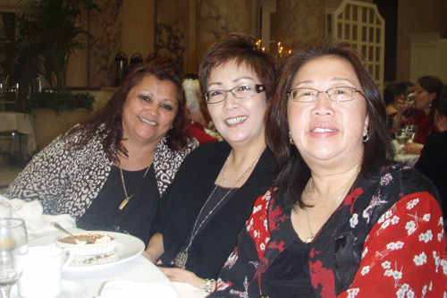 Lily Gee (front) with guests Elsa Tabor and Katharine Tsang