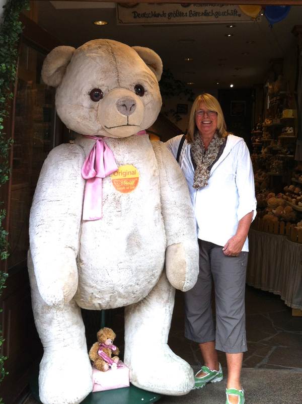 One of the UWA members with a huge teddy bear