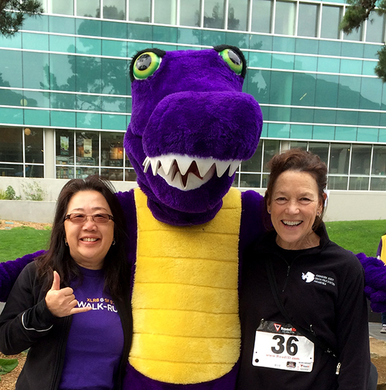 UWA co-presidents Lily Gee and Jeanne Mangerich with SF State's Gator mascot